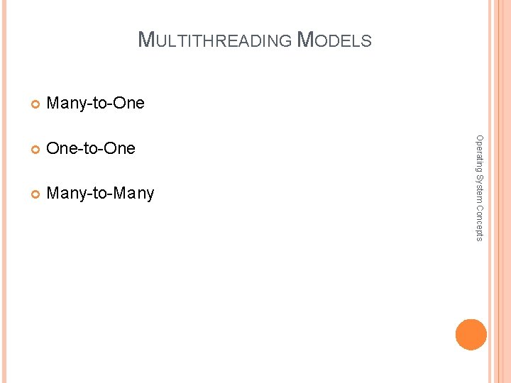 MULTITHREADING MODELS Many-to-One One-to-One Many-to-Many Operating System Concepts