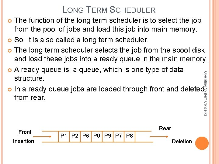 LONG TERM SCHEDULER The function of the long term scheduler is to select the