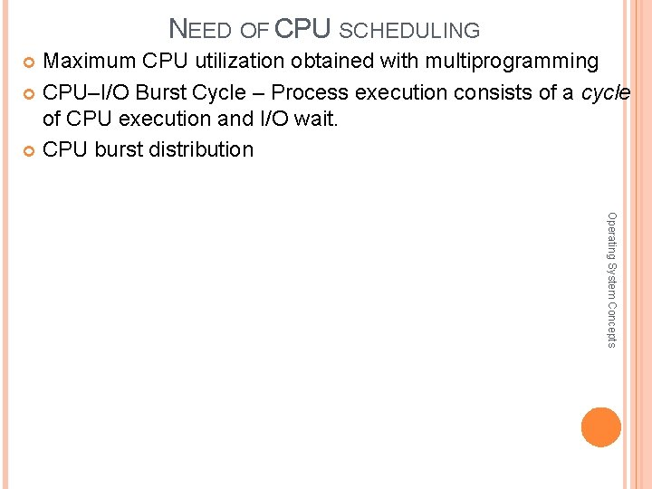 NEED OF CPU SCHEDULING Maximum CPU utilization obtained with multiprogramming CPU–I/O Burst Cycle –