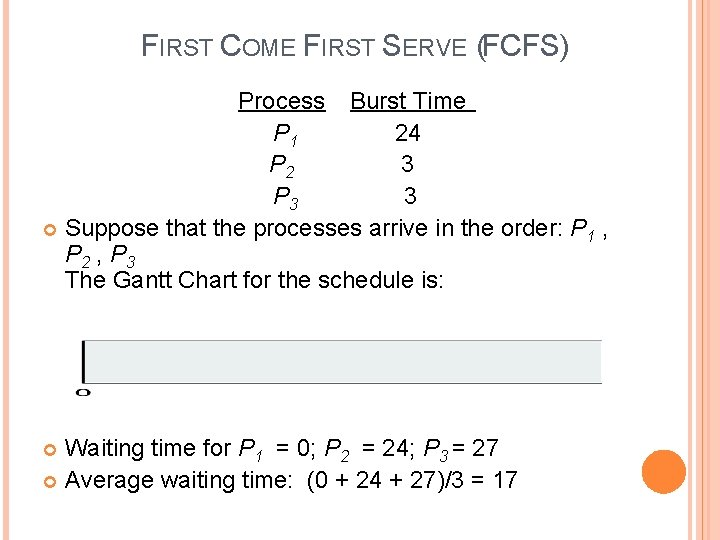 FIRST COME FIRST SERVE (FCFS) Process Burst Time P 1 24 P 2 3