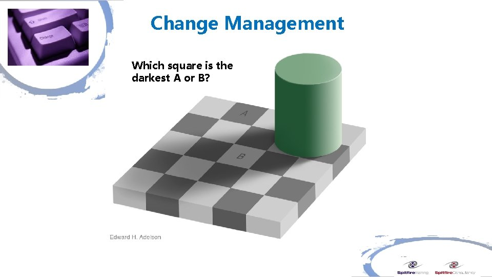 Change Management Which square is the darkest A or B?