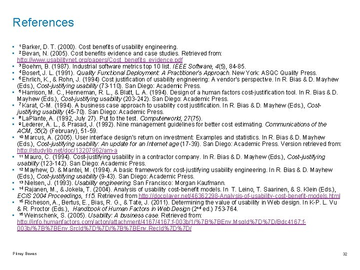 References • 1 Barker, D. T. (2000). Cost benefits of usability engineering. • 2