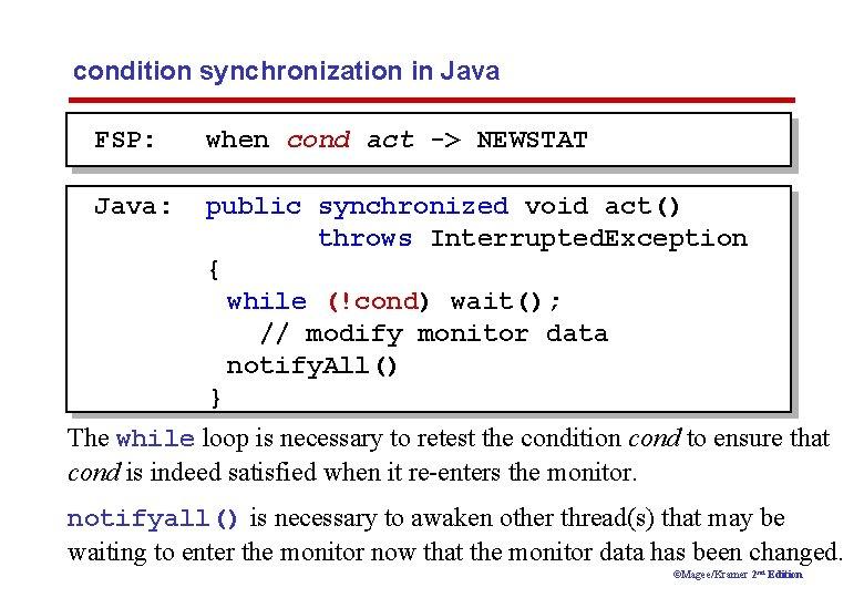 condition synchronization in Java FSP: when cond act -> NEWSTAT Java: public synchronized void