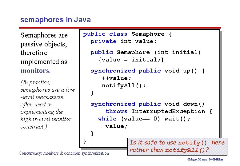 semaphores in Java Semaphores are passive objects, therefore implemented as monitors. (In practice, semaphores