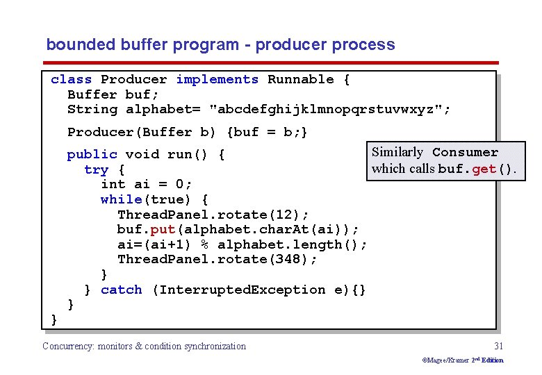 bounded buffer program - producer process class Producer implements Runnable { Buffer buf; String