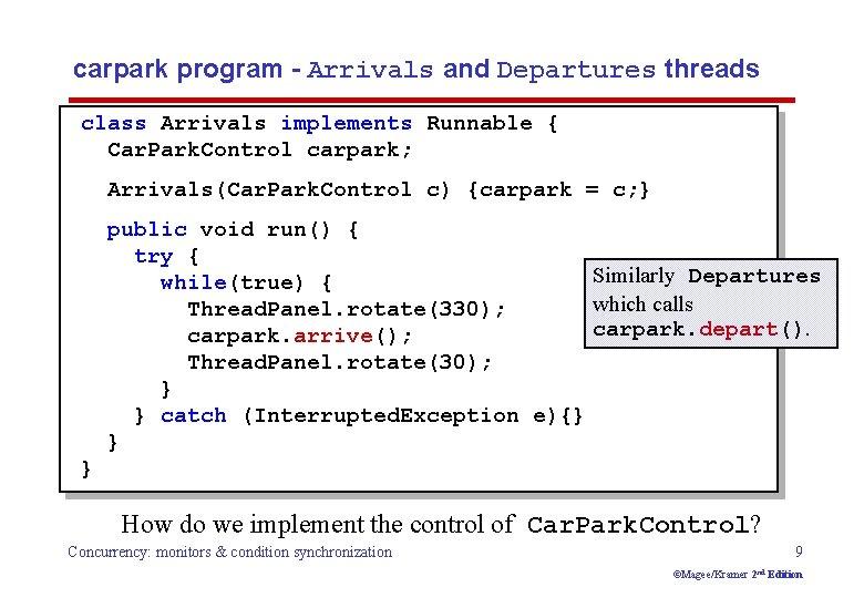 carpark program - Arrivals and Departures threads class Arrivals implements Runnable { Car. Park.