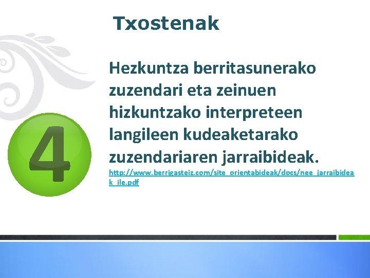 4 Txostenak Hezkuntza berritasunerako zuzendari eta zeinuen hizkuntzako interpreteen langileen kudeaketarako zuzendariaren jarraibideak.