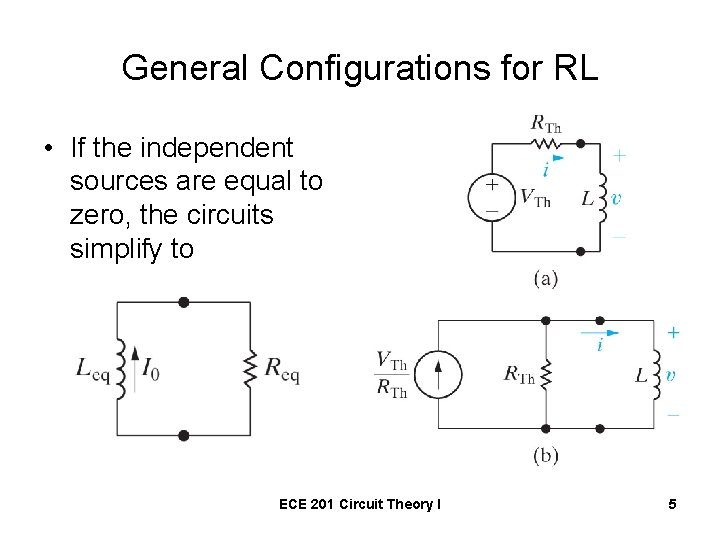 General Configurations for RL • If the independent sources are equal to zero, the