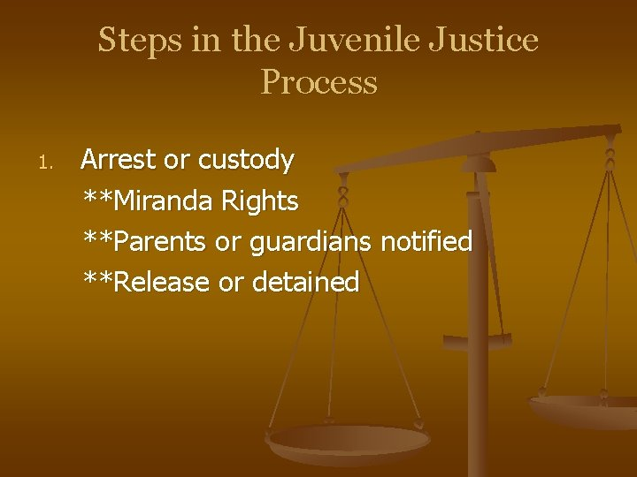 Steps in the Juvenile Justice Process 1. Arrest or custody **Miranda Rights **Parents or