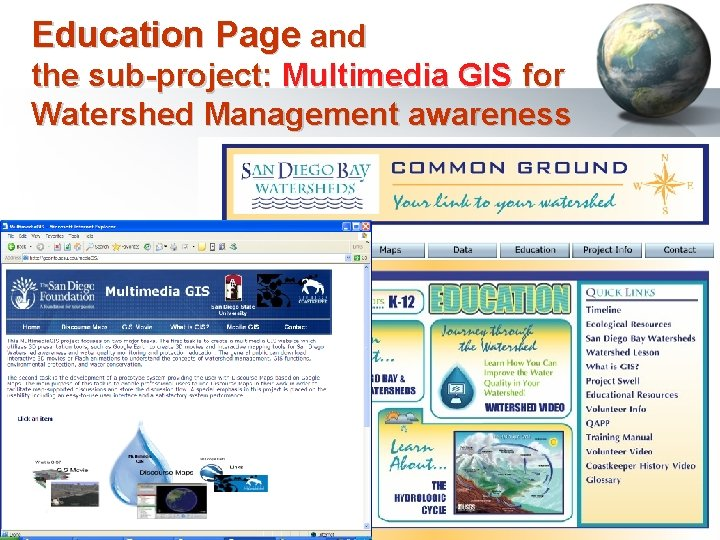 Education Page and the sub-project: Multimedia GIS for Watershed Management awareness