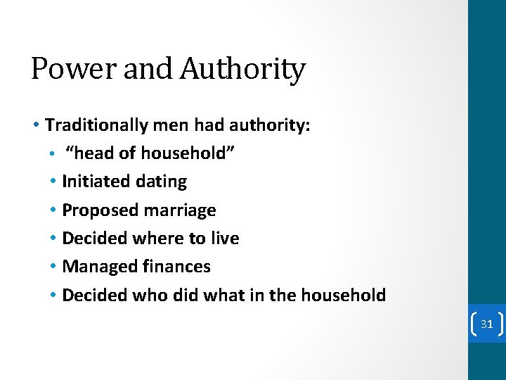 """Power and Authority • Traditionally men had authority: • """"head of household"""" • Initiated"""