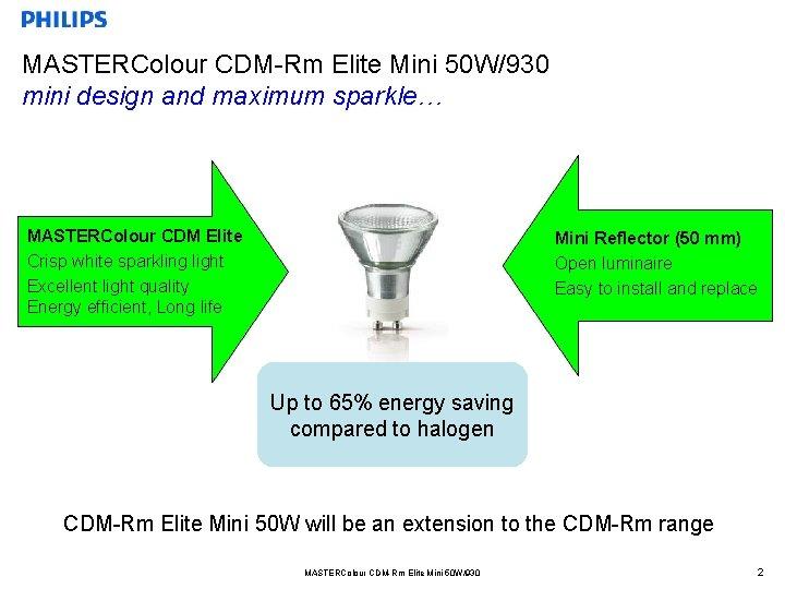 MASTERColour CDM-Rm Elite Mini 50 W/930 mini design and maximum sparkle… MASTERColour CDM Elite