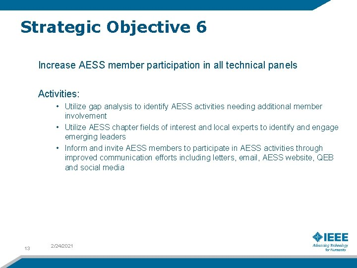Strategic Objective 6 Increase AESS member participation in all technical panels Activities: • Utilize