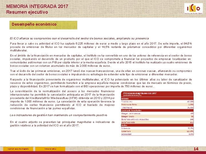 MEMORIA INTEGRADA 2017 Resumen ejecutivo Desempeño económico El ICO afianza su compromiso con el