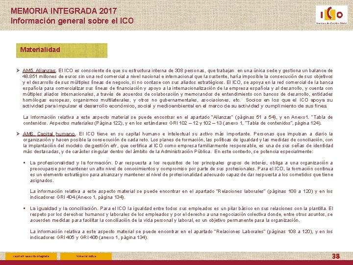 MEMORIA INTEGRADA 2017 Información general sobre el ICO Materialidad Ø AM 5. Alianzas. El