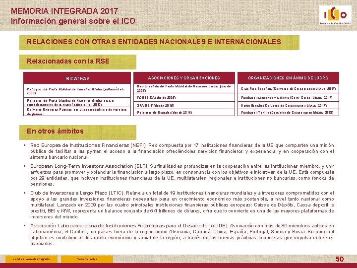 MEMORIA INTEGRADA 2017 Información general sobre el ICO RELACIONES CON OTRAS ENTIDADES NACIONALES E