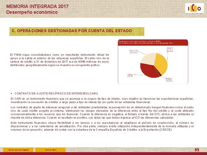 MEMORIA INTEGRADA 2017 Desempeño económico C. OPERACIONES GESTIONADAS POR CUENTA DEL ESTADO El FIEM