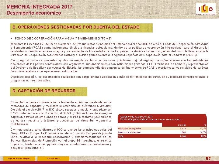 MEMORIA INTEGRADA 2017 Desempeño económico C. OPERACIONES GESTIONADAS POR CUENTA DEL ESTADO § FONDO