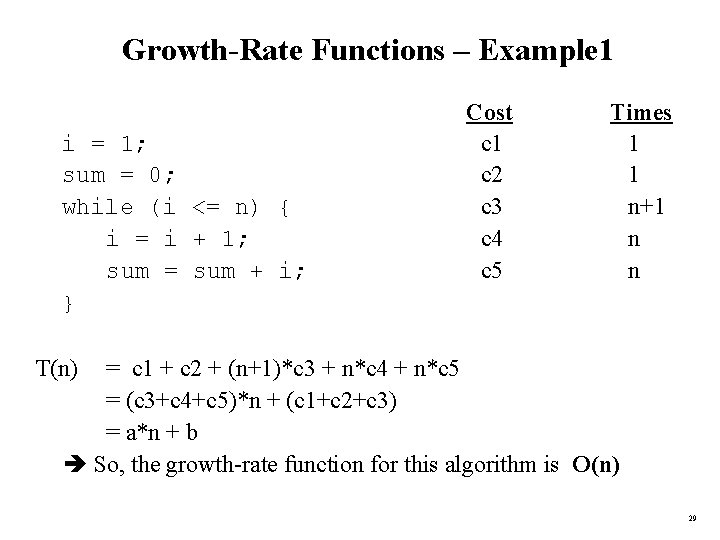 Growth-Rate Functions – Example 1 i = 1; sum = 0; while (i <=