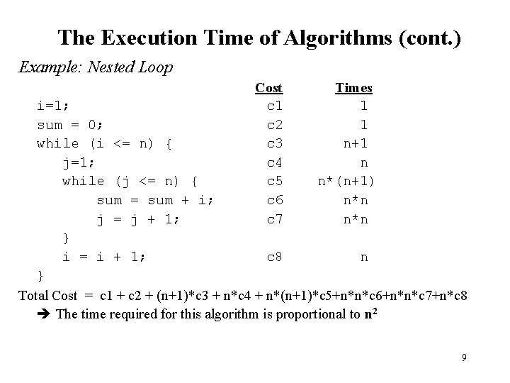 The Execution Time of Algorithms (cont. ) Example: Nested Loop Cost c 1 c
