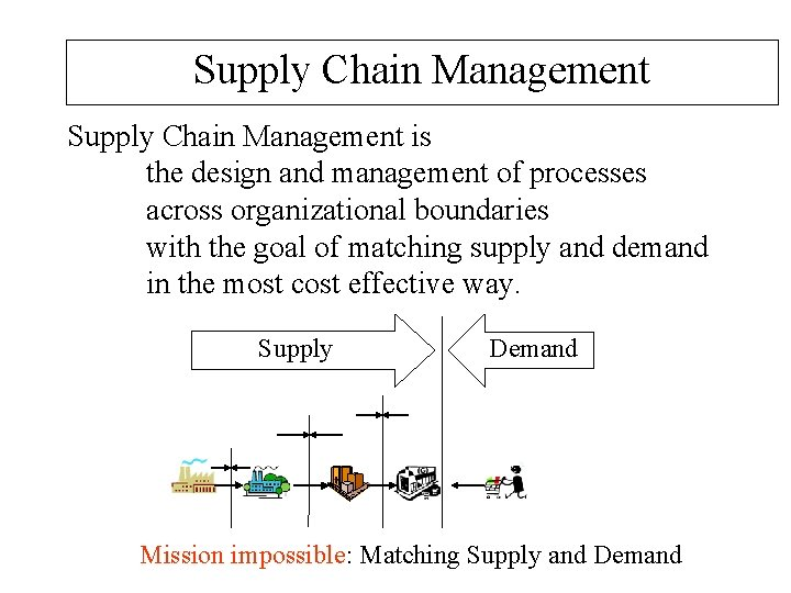 Supply Chain Management is the design and management of processes across organizational boundaries with