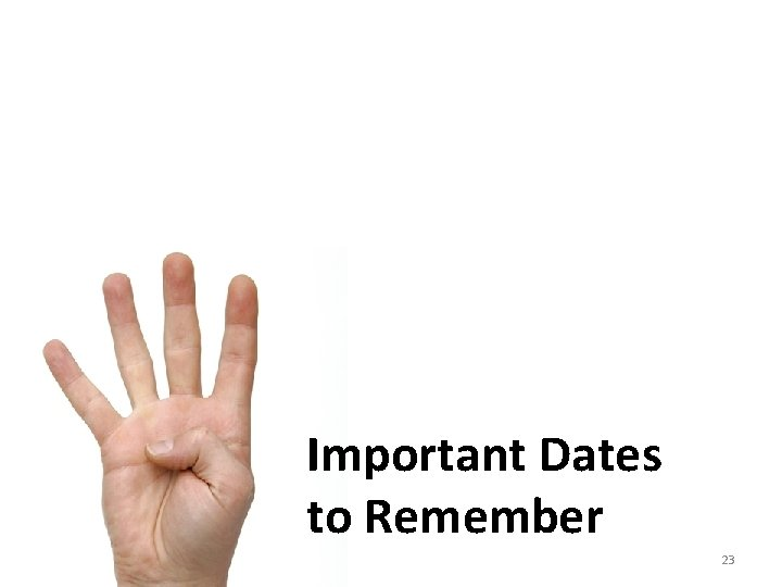 Important Dates to Remember 23