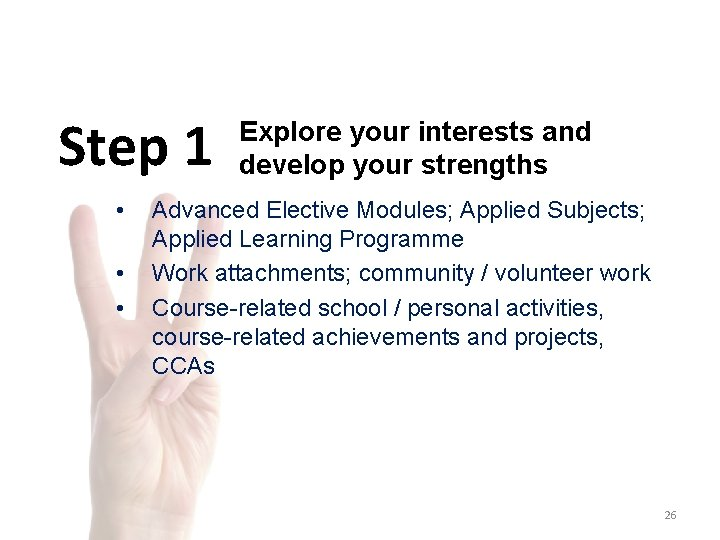 Step 1 • • • Explore your interests and develop your strengths Advanced Elective