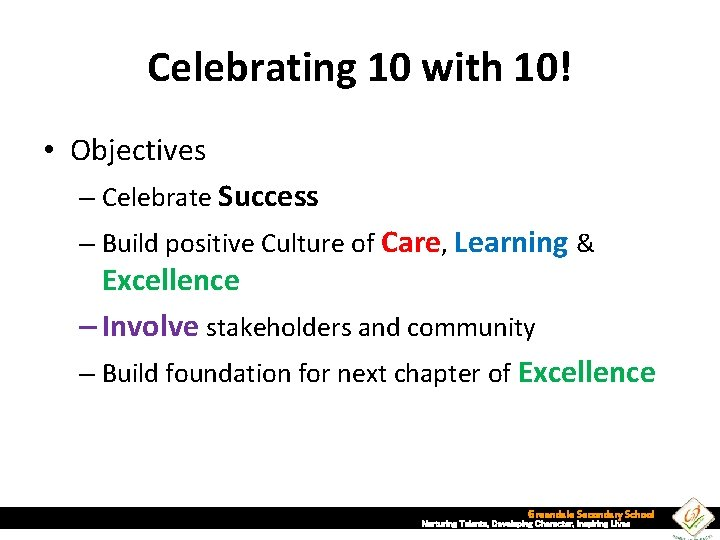Celebrating 10 with 10! • Objectives – Celebrate Success – Build positive Culture of