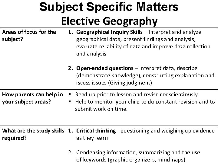 Subject Specific Matters Elective Geography Areas of focus for the subject? 1. Geographical Inquiry