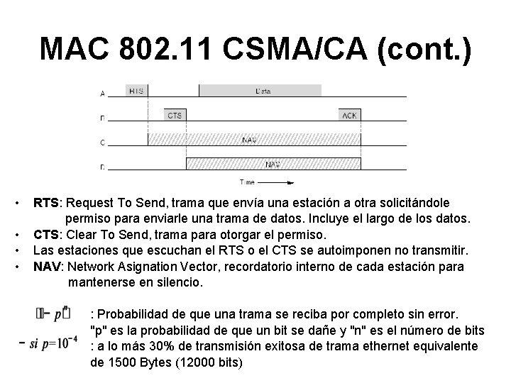 MAC 802. 11 CSMA/CA (cont. ) • • RTS: Request To Send, trama que