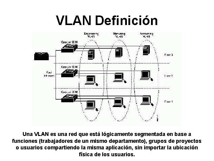 VLAN Definición Una VLAN es una red que está lógicamente segmentada en base a