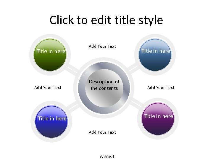 Click to edit title style Title in here Add Your Text Description of the