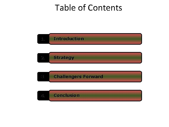 Table of Contents 1. Introduction 2. Strategy 3. Challengers Forward 4. Conclusion