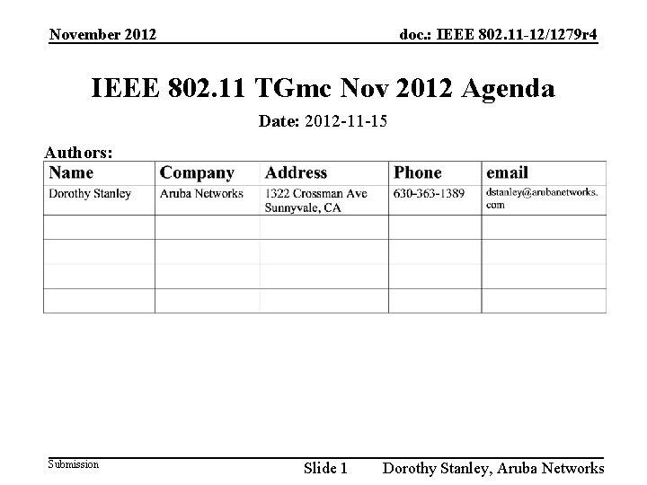 November 2012 doc. : IEEE 802. 11 -12/1279 r 4 IEEE 802. 11 TGmc