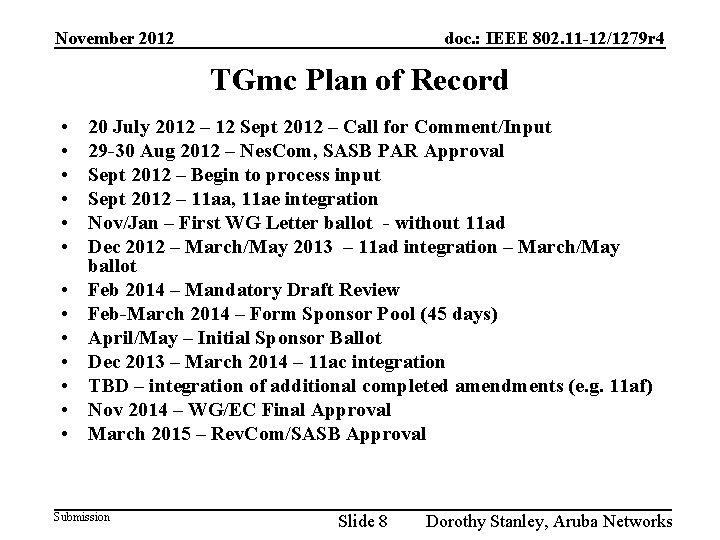 November 2012 doc. : IEEE 802. 11 -12/1279 r 4 TGmc Plan of Record