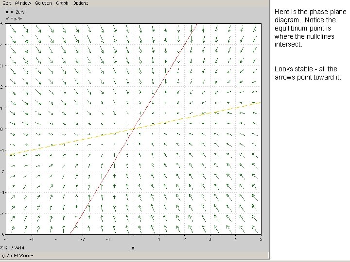 Here is the phase plane diagram. Notice the equilibrium point is where the nullclines