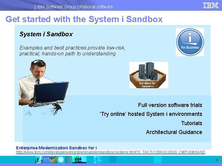IBM Software Group   Rational software Get started with the System i Sandbox Examples