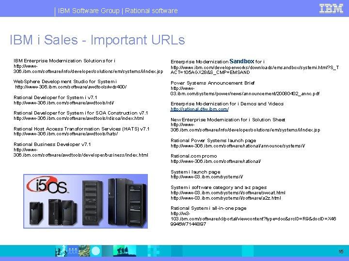 IBM Software Group   Rational software IBM i Sales - Important URLs IBM Enterprise