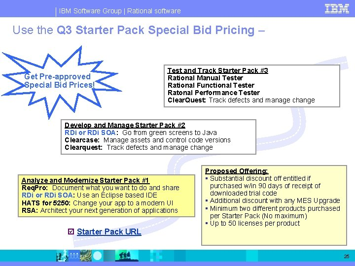 IBM Software Group   Rational software Use the Q 3 Starter Pack Special Bid