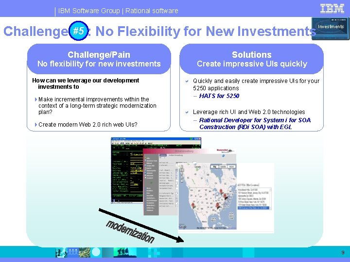 IBM Software Group   Rational software Challenge #5 #5: No Flexibility for New Investments