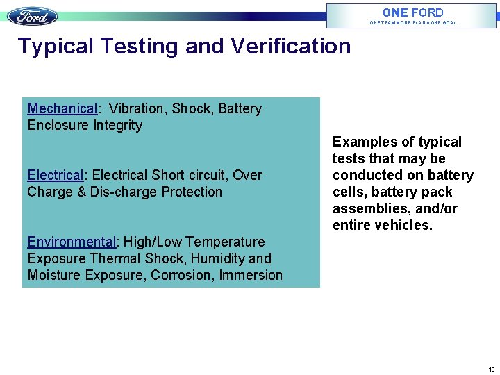 ONE FORD ONE TEAM ONE PLAN ONE GOAL Typical Testing and Verification Mechanical: Vibration,