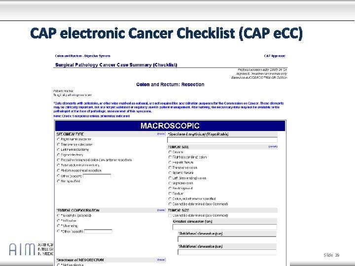 cancer cap checklist)