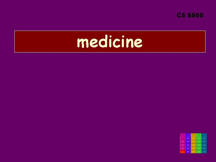C 5 $500 medicine