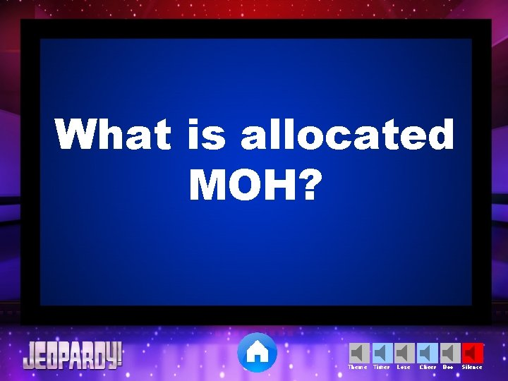 What is allocated MOH? Theme Timer Lose Cheer Boo Silence