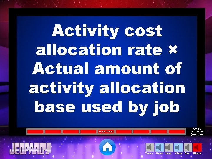 Activity cost allocation rate × Actual amount of activity allocation base used by job