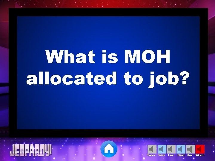 What is MOH allocated to job? Theme Timer Lose Cheer Boo Silence