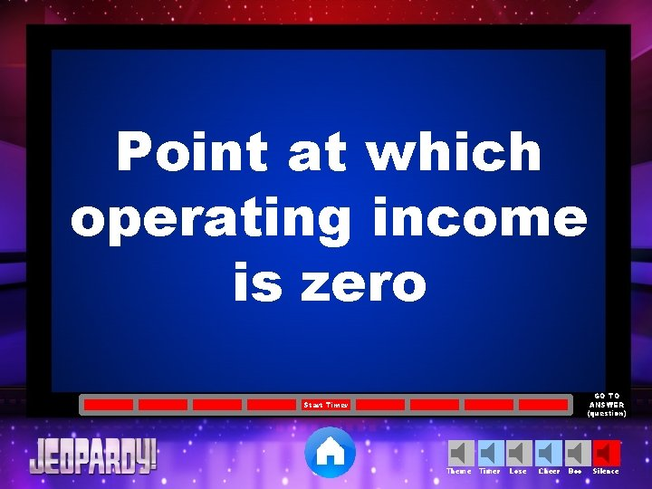 Point at which operating income is zero GO TO ANSWER (question) Start Timer Theme