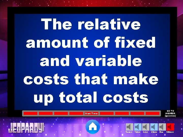 The relative amount of fixed and variable costs that make up total costs GO