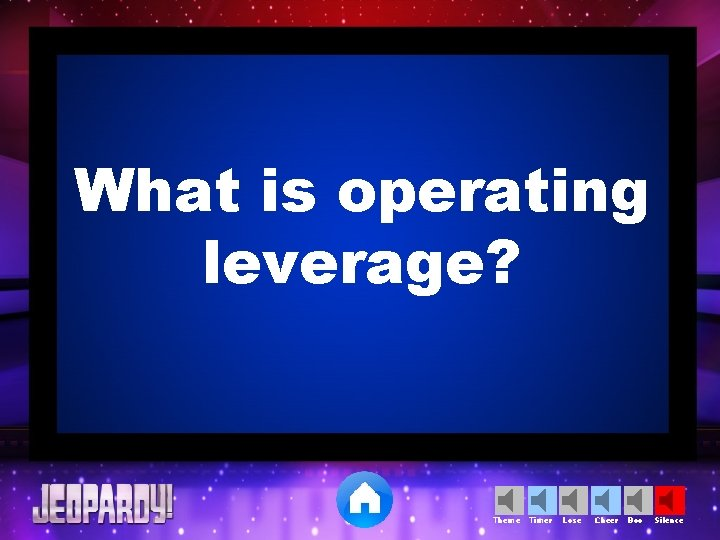 What is operating leverage? Theme Timer Lose Cheer Boo Silence