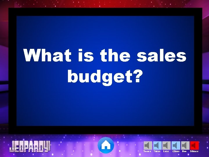 What is the sales budget? Theme Timer Lose Cheer Boo Silence